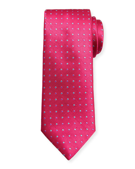 Canali Alternating Dots Silk Tie, Pink