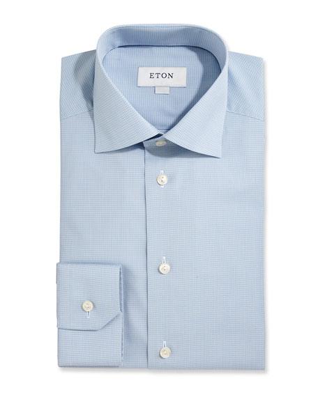 Eton Slim-Fit Textured Check Dress Shirt, Light Blue