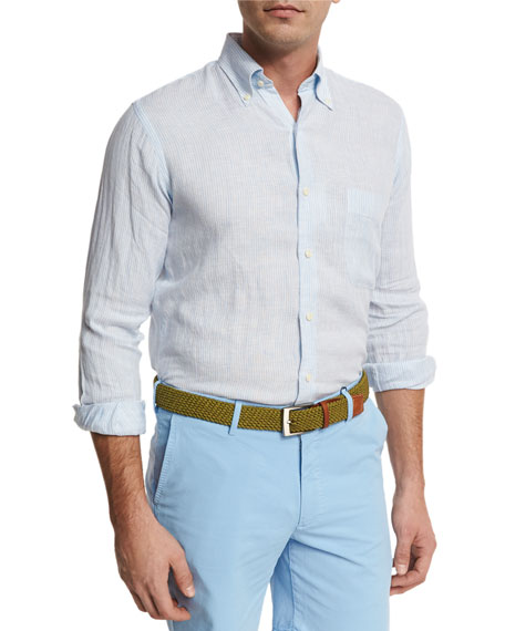 Peter Millar Crown Cool Pinstripe Linen Sport Shirt,