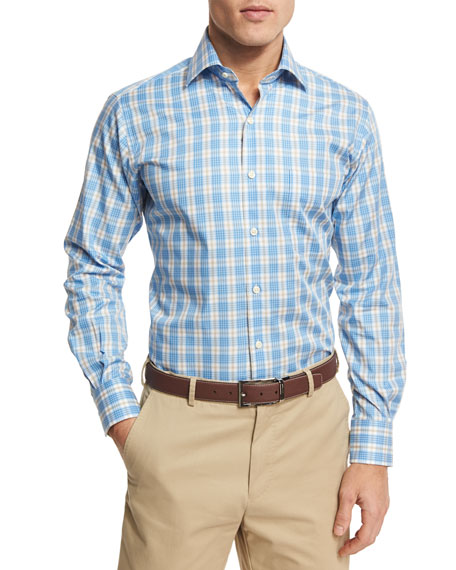 Peter Millar Island Plaid Sport Shirt, Blue