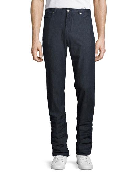 Summertime Straight-Leg Stretch-Denim Jeans, Blue
