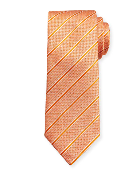 Canali Textured Stripe Silk Tie, Orange
