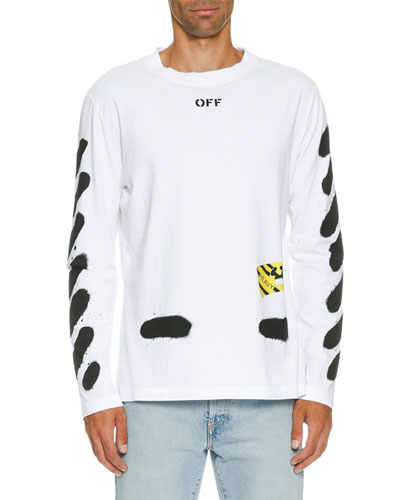 off white spray paint logo long sleeve t shirt white black. Black Bedroom Furniture Sets. Home Design Ideas