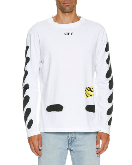 off white spray paint logo long sleeve t shirt white black neiman marcus. Black Bedroom Furniture Sets. Home Design Ideas