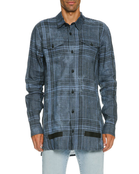 Off-White Faded Plaid Linen Button-Front Shirt, Blue