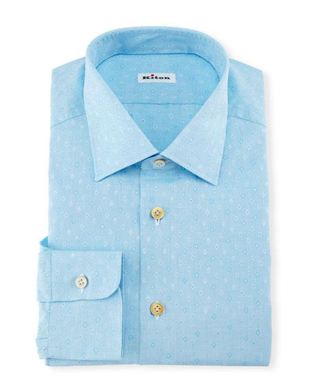 Kiton Diamond Dobby Dress Shirt, Aqua