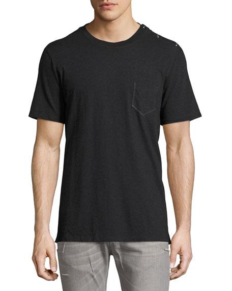 Maison Margiela Snap-Side Jersey Pocket T-Shirt, Dark Gray