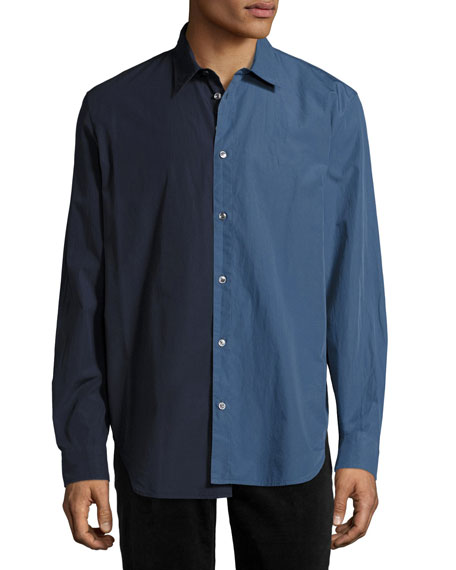 Re-Edition Garment-Dyed Two-Tone Shirt, Navy