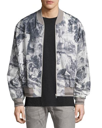 Jungle-Print Silk-Cotton Bomber Jacket, Gray/Multi