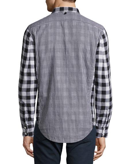 Halsey Buffalo-Check Shirt, Black/White