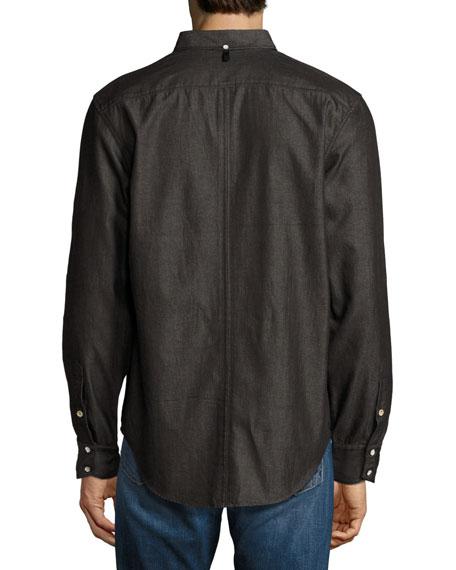 Rag bone yokohama slim fit flannel shirt black for Trim fit flannel shirts