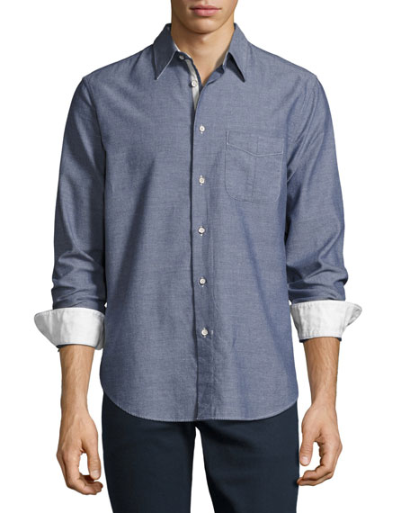 Rag & Bone Beach Button-Front Shirt, Blue/Navy