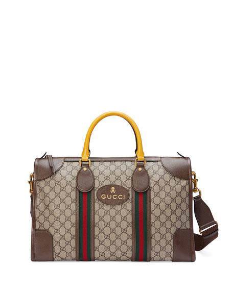 Soft GG Supreme Duffel Bag with Web, Beige/Ebony