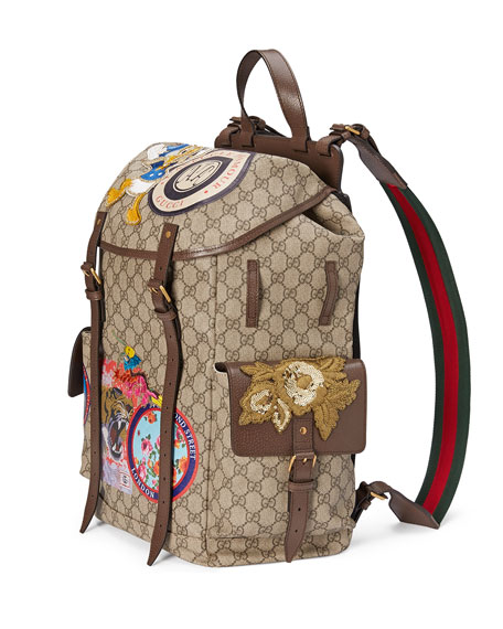 6a9610e29e38 Gucci Soft GG Supreme Backpack with Patches, Beige | Neiman Marcus