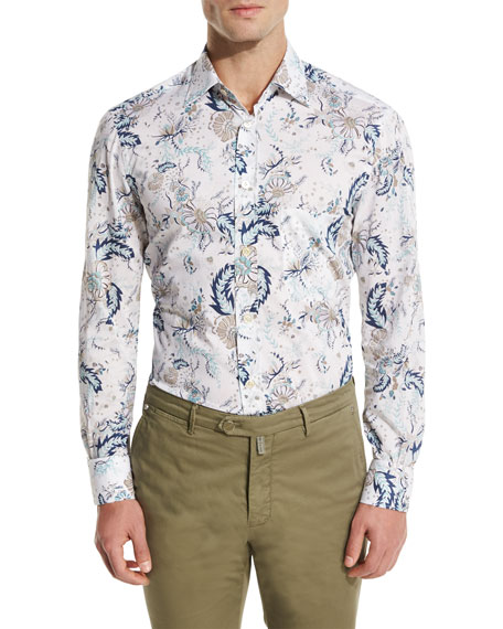 Kiton Floral-Print Oxford Sport Shirt, White