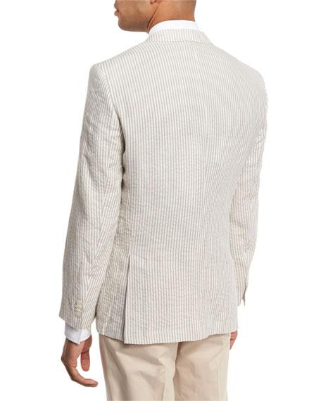 Striped Seersucker Two-Button Sport Coat, White/Tan