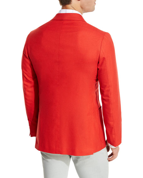 Cashmere Three-Button Blazer, Coral