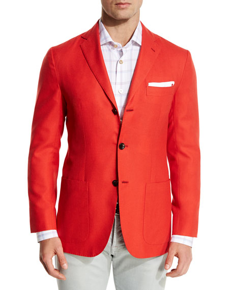 KITON Cashmere Three-Button Blazer, Coral in Pink