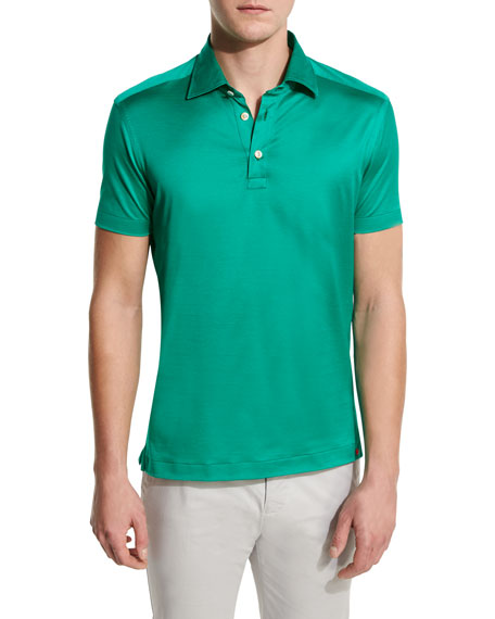 Kiton Solid Sateen Polo Shirt, Green