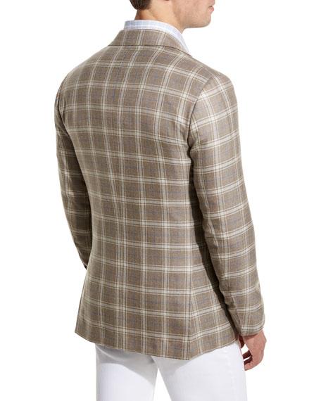 Plaid Cashmere-Silk Three-Button Sport Coat, Tan/Creme