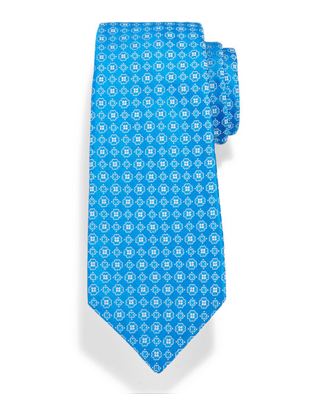 Neat Woven Flower Silk Tie, Blue