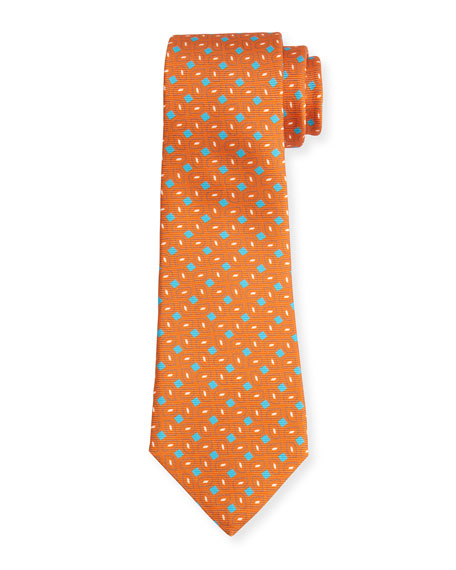 Kiton Neat Box-Pattern Printed Silk Tie, Orange