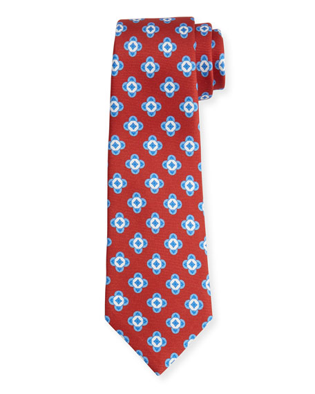 Neat Spaced Flower Silk Tie, Rust