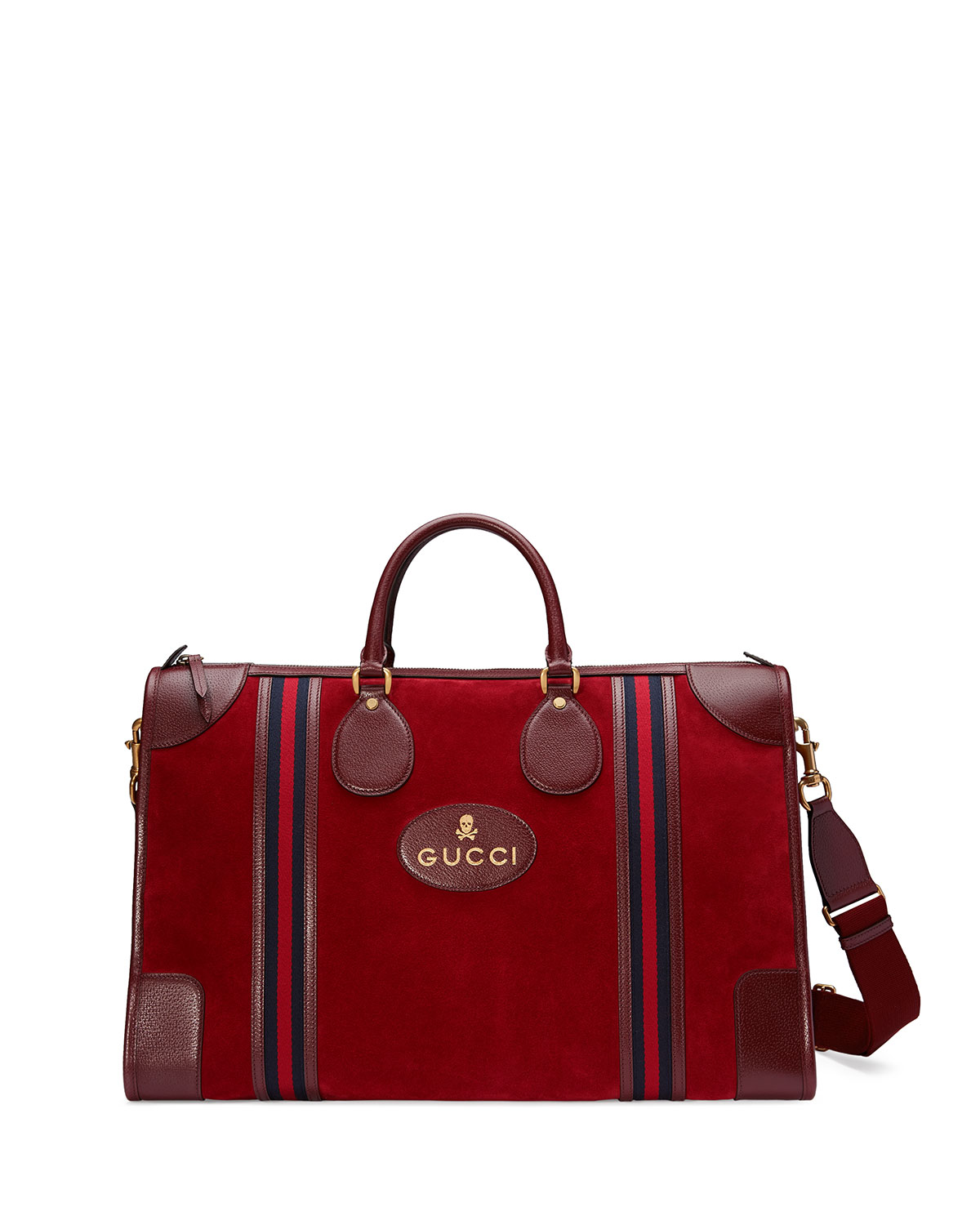 Large Suede Duffel Bag With Web Red
