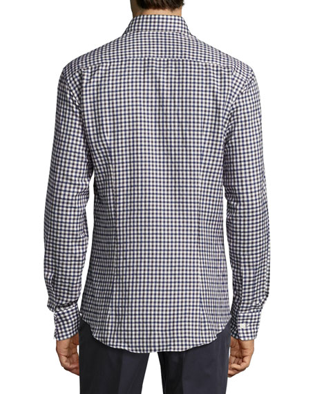 Cotton Check Sport Shirt, Navy/White