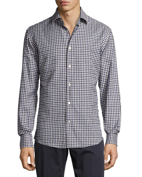 Salvatore Ferragamo Cotton Check Sport Shirt, Navy/White