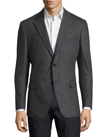 Virgin Wool Jersey Two-Button Blazer, Gray