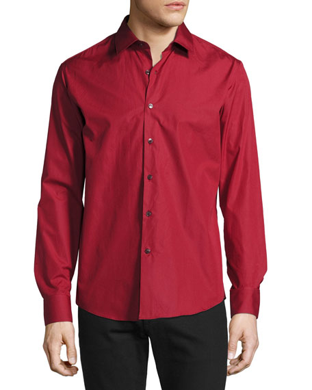 Salvatore Ferragamo Men's Classic Cotton Sport Shirt, Red