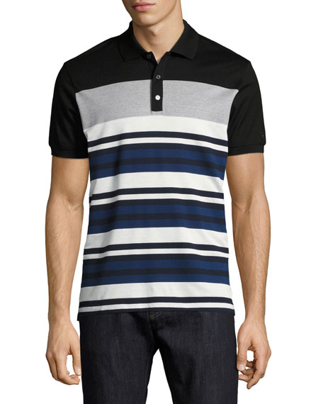 Cotton-Silk Piqué Houndstooth & Striped Polo Shirt with Gancini, Black