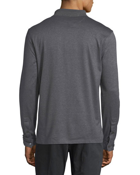 Long-Sleeve Polo Shirt with Gancini Chest Embroidery, Gray
