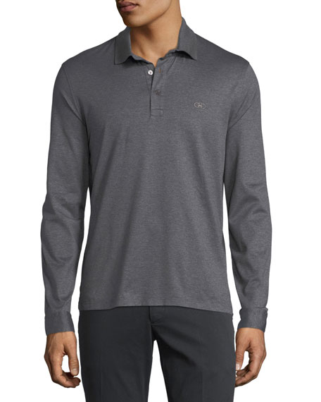 Salvatore Ferragamo Men's Long-Sleeve Polo Shirt with Gancini
