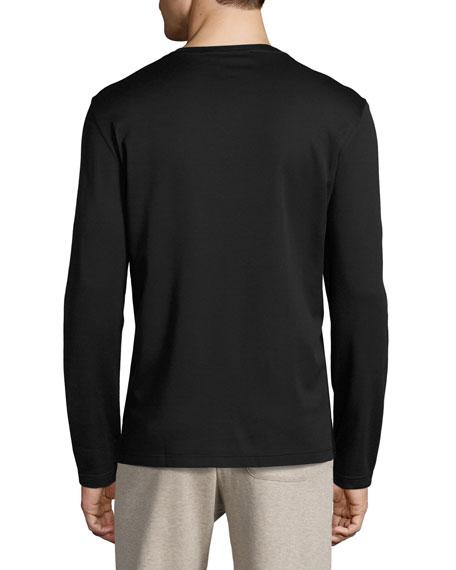 Mercerized Silk-Cotton Long-Sleeve T-Shirt with Contrast Trim, Navy