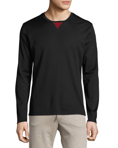 Mercerized Silk-Cotton Long-Sleeve T-Shirt with Contrast Trim, Navy