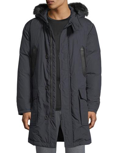 Men's Leather-Trim Parka with Fur