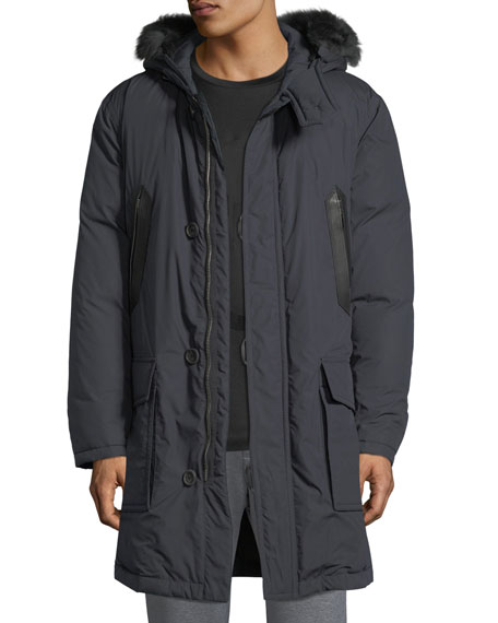 Men's Leather-Trim Parka with Fur