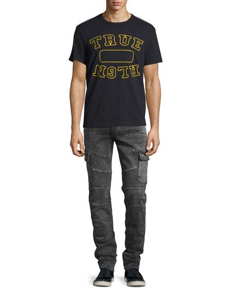 Rocco Skinny Cargo Moto Jeans, Jet Black