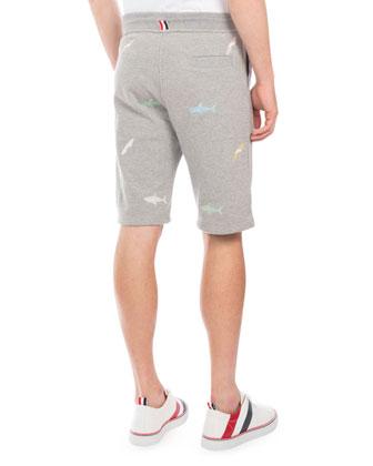 4ac2b63502 Thom Browne Shark Heather Sweat Shorts, Light Gray | Neiman Marcus