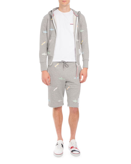 Shark Zip-Front Hoodie, Light Gray