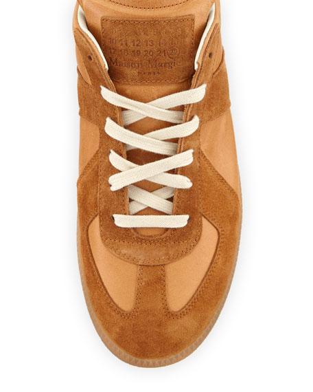 Men's Replica Suede & Leather Low-Top Sneaker, Natural