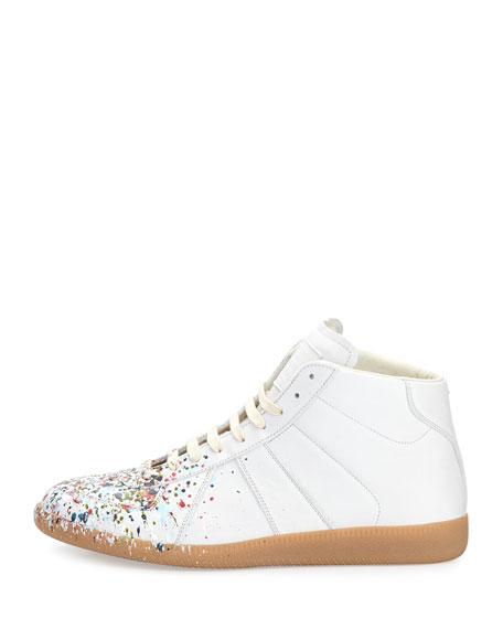 Men's Replica Paint-Splatter Leather Mid-Top Sneakers, White