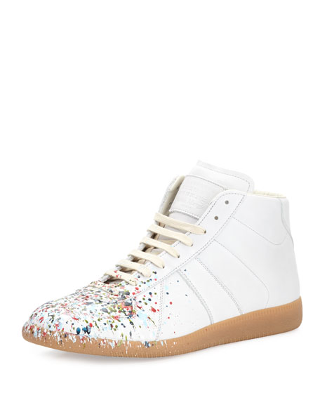 Maison Margiela Replica Paint-Splatter Leather Mid-Top Sneaker,