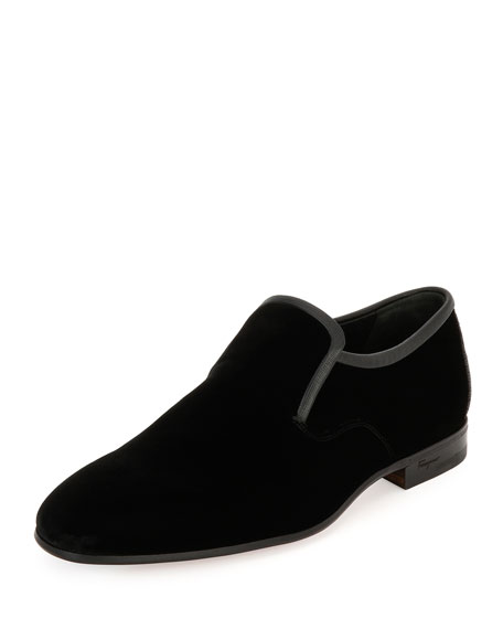 Salvatore Ferragamo Delroy Velvet & Stingray Formal Loafer,