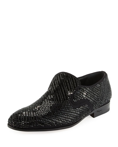 Delroy 2 Crystal-Studded Formal Loafer, Black