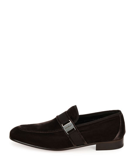 Men's Velvet Formal Loafer, Brown