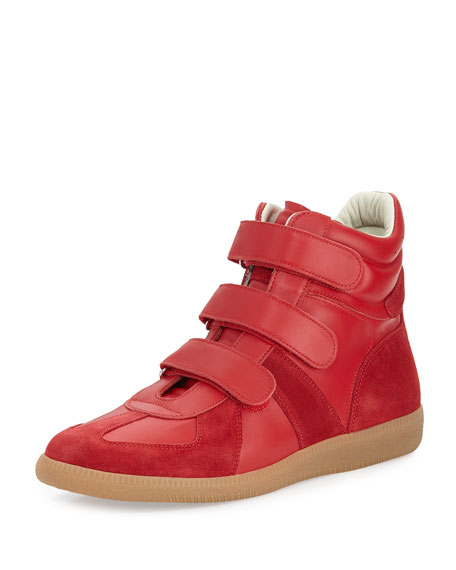 Maison Margiela Triple-Strap Leather & Suede High-Top Sneaker,