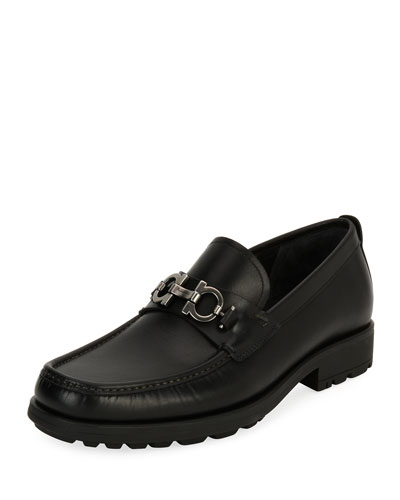 David Suede Lug-Sole Loafer, Black